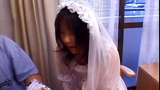 Asian in bride dress shows butt upskirt