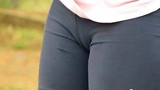 Hot sluts in shorts in street candid cameltoe video