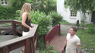 Skinny German Teen Seduce to Fuck outdoor for Money