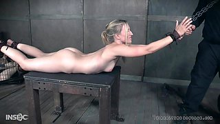 Blonde teen submissive babe Riley Reyes tied up and abused hardcore