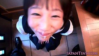 Asian schoolgirl cumswallows after blowjob