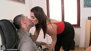 Hot brunette office slut Vanessa Decker gets her juicy muff poked well