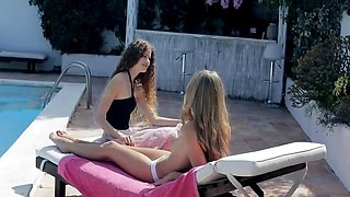 Pool Side Hot Lesbian Sex