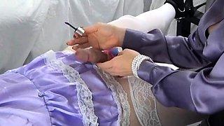 Submissive amateur crossdresser receives a sensual handjob