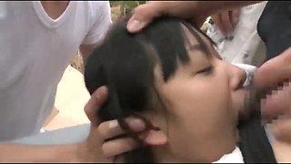 Schoolgirl multiple deepthroat