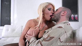 Grabbing Alura Jenson's fake tits while screwing her
