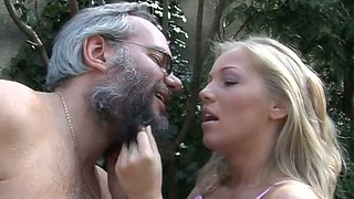 Fat grey haired daddy enjoys kissing and licking big juicy tits of salty blonde