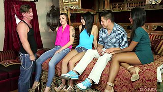 Rachel Midori and her friends like to fuck together on the couch