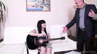 Sexy brunette asks a teacher for private lessons
