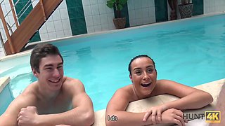 HUNT4K. Cuckold doesnt know his lovely brunette sells her bod