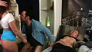abby cross gives head to a birthday guy next to his sleeping gf