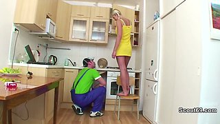 German Daughter fucked by repairman when mom and dad away