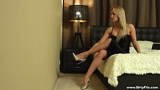 Classy blonde teen Alexa bends over for a hard dick