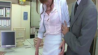 Pallid secretary Misato Sakurai lets her horny boss play with her nice tits