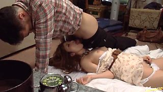 Naughty Dude Fucking a Passed Out Japanese Babe's Mouth