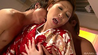 Japanese brunette MILF Jun Kusanagi forced to have two cocks