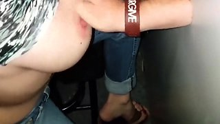 Glory hole blowjob busty amateur blonde fucking in stall