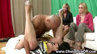 Horny cfnm amateur gets fucked hard in doggy style