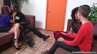 Perverted chick Misty Stone makes one dude watch how his GF gets her pussy blacked