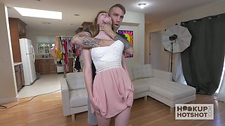 Kinky dude is touching and stroking slutty teen in short skirt Nina Skye