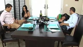 Hot Foursome Before Lunch with Brunettes Audrey Bitoni and Savannah Stern