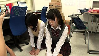 Adorable Asian schoolgirls getting nailed by a horny guy