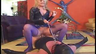 Cunnilingus in leather pvc and fishnet stockings