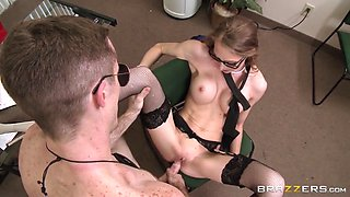 shawna lenee wearing glasses and fishnet stockings getting pounded