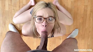 Flexible nerdy gal Katie Kush does splits almost while riding strong cock