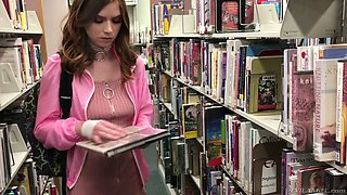 Tall and leggy book worm Pepper Hart gets analfucked doggy style hard