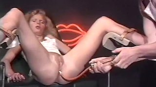 Long legged blonde milf on wicked gyno checkup session
