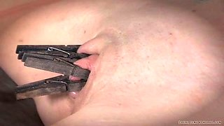 Nasty bounded brunette has her boobs and snatch pumped with vacuum pumps