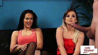 Young british voyeurs instructing tugging sub