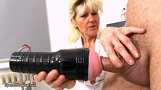 Mature Nurse Jerks Young Cock