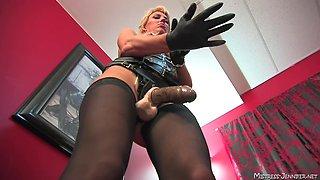 stunning blonde Mistress Alexis wants a friend's fat penis deep inside her