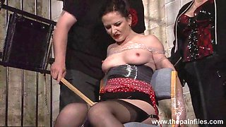 Submissive Caroline Pierces spanking and double domination