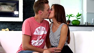 Ardent sweetie with small tits Cindy Shine starts riding dick after giving BJ
