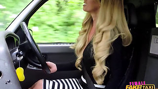 English blonde driver liking a black dick to fuck