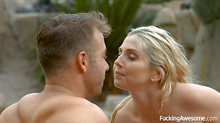 Blonde sweetheart smashed and facialized by the pool