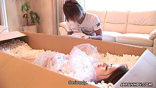Nude doll from box Iori Mizuki comes alive and gives her head