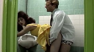 Slutty college student fucks her teacher in the toilet