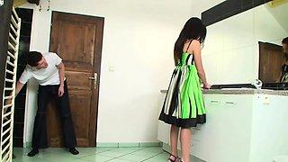 Amazing teen in high heels dominates him