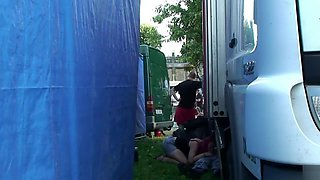 Drunk punks caught copulating outdoors behind two trucks