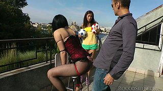 Inga and Helen B have fun with horny Rocco Siffredi