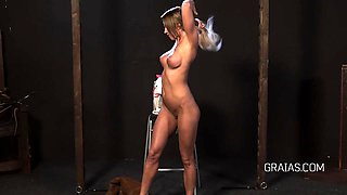 Blonde fit girl punished with riding crop