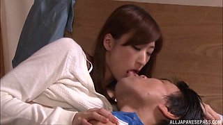 Charming and saucy Japanese slut gives a tasty cock mind blowing blowjob on bed
