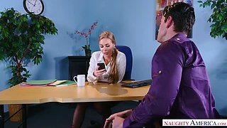Nicole Aniston is an awfully hot boss and she blows like a pro