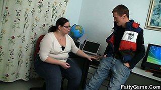 Naughty chubby teacher lures him