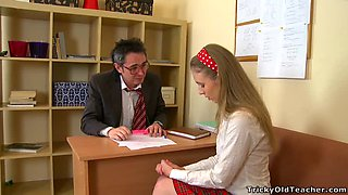 Naughty Blonde School Girl Sucks and Rides Her Teacher's Cock