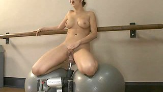 Busty Gal Fucked By Two Different Machines in Locker Room
